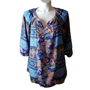 [Fig & Flower] 2X Mixed Pattern Blouse